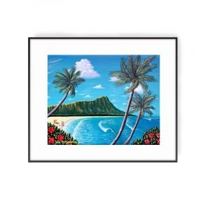 Peaceful Getaway titled painting of Diamond Head by Hawaii artist Jan Tetsutani