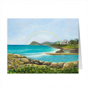 Greeting Card of Ko Olina Lagoon and Four Seasons titled 'An Unforgettable Experience' by Jan Tetsutani