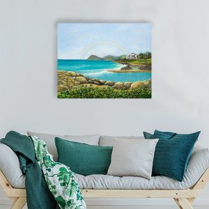 Four Seasons Resort along Ko'Olina coast Painting by Jan Tetsutani