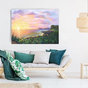 Secret Lagoon, Ko Olina Original Painting of a Hawaiian sunset by Jan Tetsutani