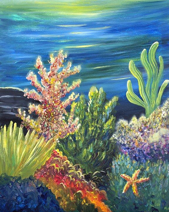 Sea Garden Original Painting by Jan Tetsutani