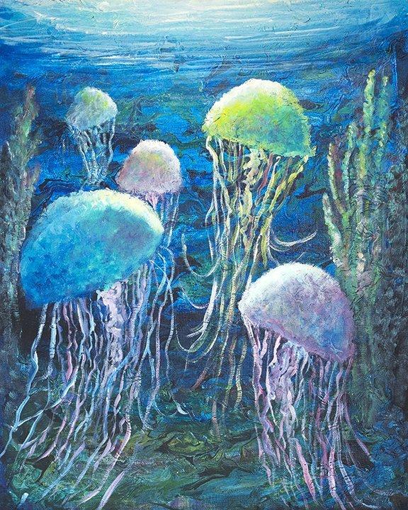 Jelly Fish Original Painting by Jan Tetsutani
