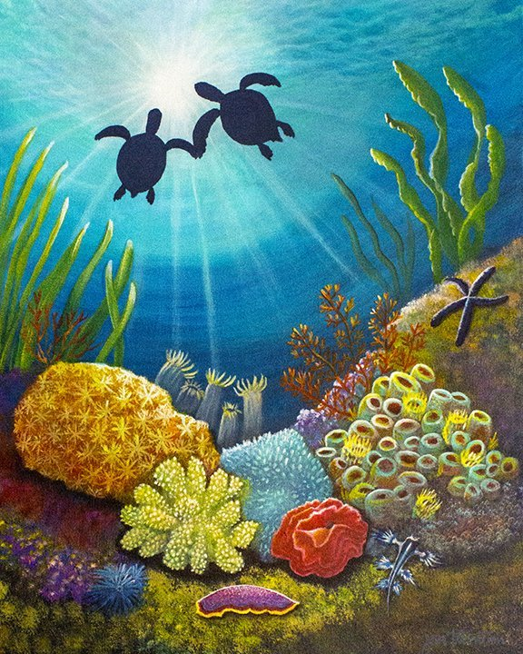 Two Turtle in Love Original Acrylic Painting by Jan Tetsutani
