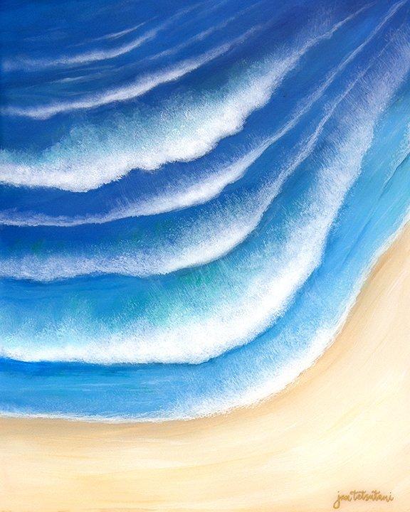 Rhythm of the Waves Resin Painting by Jan Tetsutani