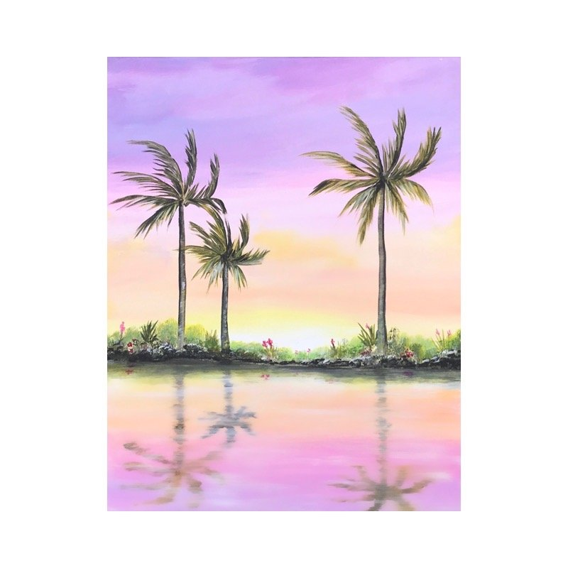 PaintingWorkshop_sunsetpalmswater