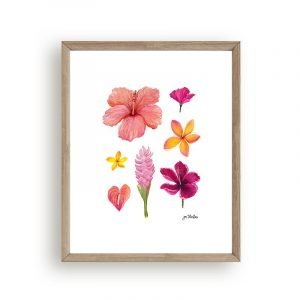 Botanical wall decor tropical flowers by Jan Tetsutani