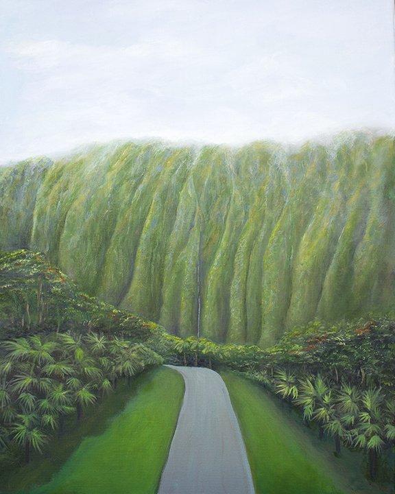 Hoomaluhia Botanical Gardens Painting by Jan Tetsutani
