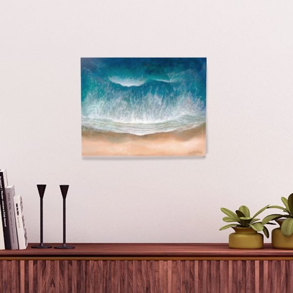 Waimea Bay Beach Resin Painting by Jan Tetsutani