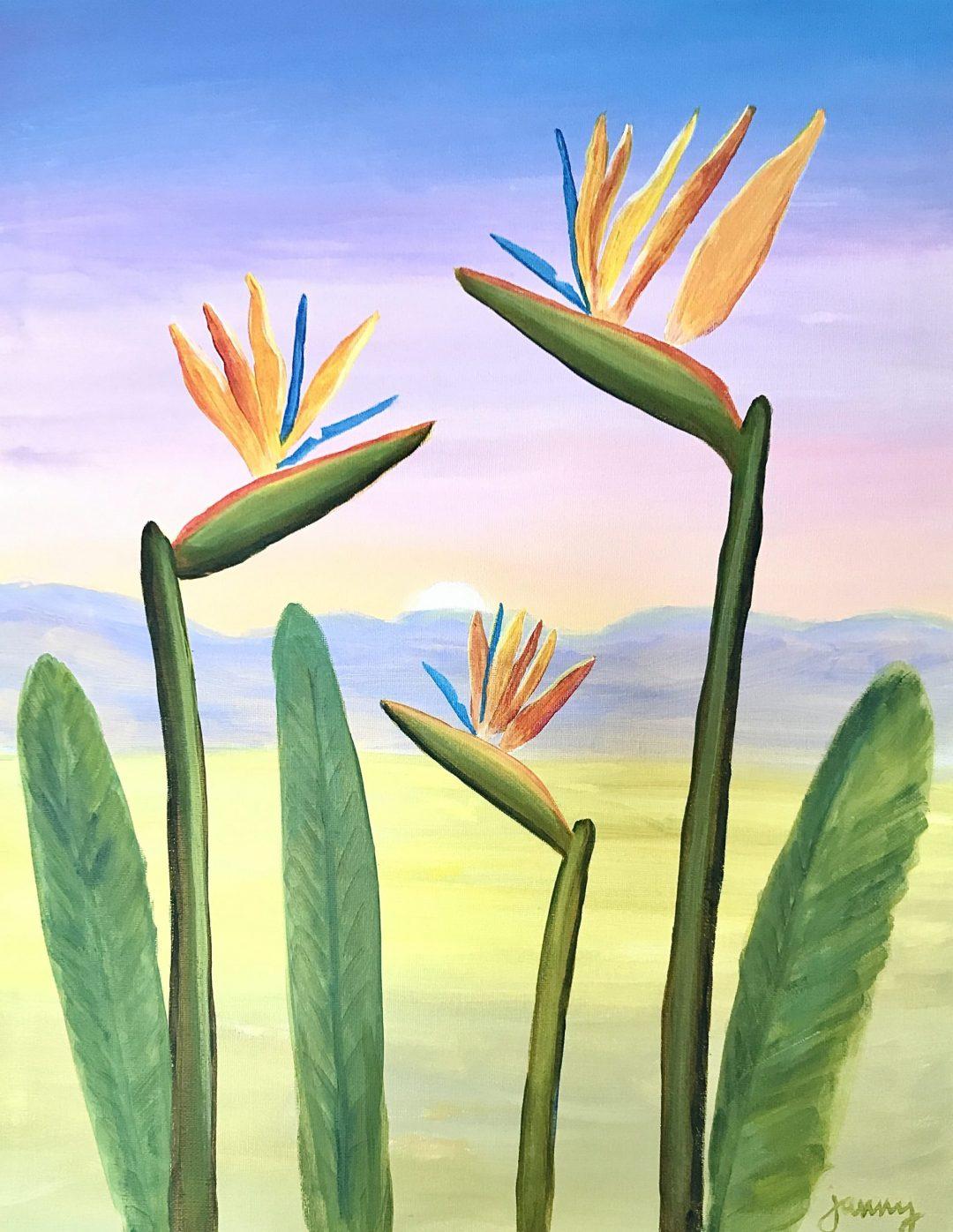Online painting class – Bird of Paradise
